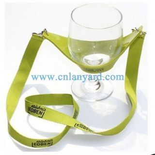 Party time Hand free drink wine glass holder neck lanyard with custom print
