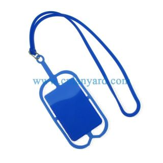 fashion cell phone business card holder silicone necklace lanyard